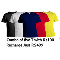 COMBO PACK OF 5 T-SHIRTS with Rs100 free Recharge in Eachorder, large