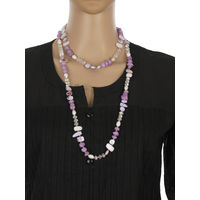 One Stop Fashion Chic and Trendy Purple Clour Glass Beads Long Neck piece for Girls & Women, 92, purple