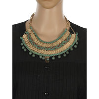 One Stop Fashion Gold Alloy Coin Designed Green and Brown Colour Neckpiece for Girls & Women, 140, green and gold