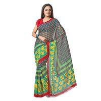 FL-2109 Silkbazar Beautiful Green Faux Georgette Printed Saree, green