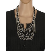 One Stop Fashion Designer Costume Jewelry Black and Silver Colour Alloy Neckpiece for Girls & Women, 110, silver
