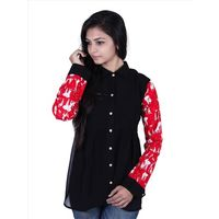 Z Black Georgette & Umbrella Print Cotton Fabric (100% ) With Fancy Printed Buttons, xl