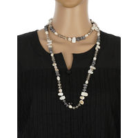 One Stop Fashion Chic and Trendy Grey Clour Glass Beads Long Neck piece for Girls & Women, 92, grey