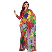 Beautiful Colorful Printed Faux Georgette Saree