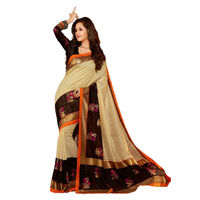 Black Bhagalpuri Printed Saree With Blouse Piece
