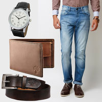 Buy Men's Jeans, Woodland Wallet, Belt with Reebok Watch in Just Rs. 1199, 30