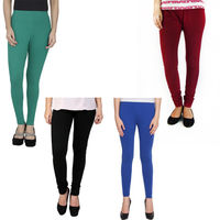 BullzI Women Trendy Legging Combo of 4, mehroon  black green blue, free
