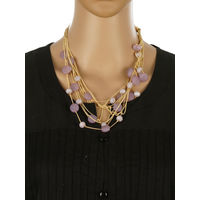 One Stop Fashion Fashionable and Trendy Purple Beads and Crystal Neck Piece for Girls & Women, 60, purple