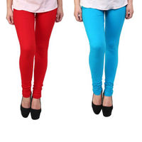 BullzI Women Trendy Legging Combo of 2, red  sky blue, free