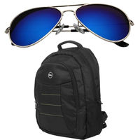 Black Amazing Laptop Backpack with Branded Aviator just Rs 1049