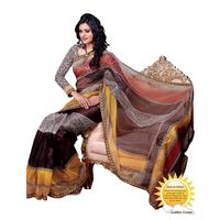Triveni Appealing Monochrome Patterned Printed Indian Designer Saree