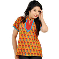 Floral Rajasthani Hand Block Print Cotton Top 162