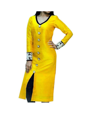 pinky yellow bhaglpuri strait long Unstich Dress