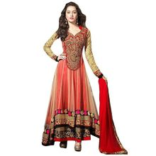 Red Embroidered Faux Georgette Un-Stiched Salwar Kameez With Dupatta