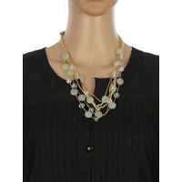 One Stop Fashion Fashionable and Trendy Dark Green Beads and Crystal Neck Piece for Girls & Women, 60, dark green