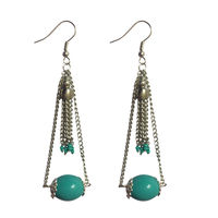 Turquoise metal alloy multi string earrings, turquoise