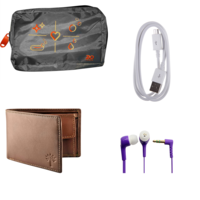 Buy Woodland Purse, Ear phone, Data cable & Bag Just Rs. 199