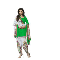 SpringDeal Monika Print Green Unstitched Salwar Suit with Dupatta Set, green