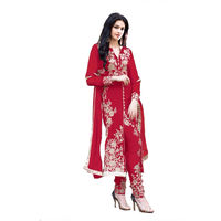 Designer Red Straight Suit, red, free size