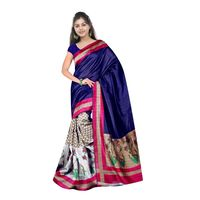 Blue Bhagalpuri Printed Saree With Blouse Piece