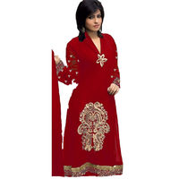 haseena red long strait net Unstich Dress, red, free size