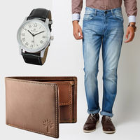 Buy Men's Jeans, Woodland Wallet With Branded Watch in Just Rs. 899, 34