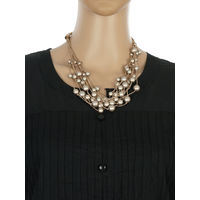One Stop Fashion Stylish and Elegant Grey Colour Beads Neckpiece for Girls & Women, 55, grey and gold
