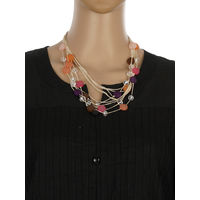 One Stop Fashion Fashionable and Trendy Multi Colour Beads and Crystal Neck Piece for Girls & Women, 60, multi colour