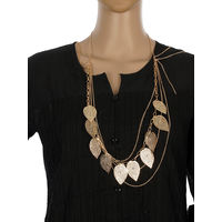 One Stop Fashion Fancy and Fashionable Gold Colour Alloy Leaves design NeckPiece for Girls & Women, 52, gold