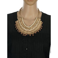 One Stop Fashion Gold Alloy Coin Designed Cream and Brown Colour Neckpiece for Girls & Women, 140, brown and gold