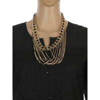 One Stop Fashion Designer Costume Jewelry Black and Gold Colour Alloy Neckpiece for Girls & Women, 110, gold