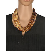 One Stop Fashion Elegant and Exclusive Brown Colour Shell Neckpiece for Girls & Women, 120, brown