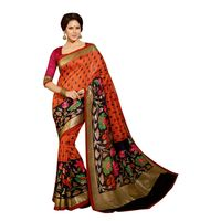 Red Bhagalpuri Printed Saree With Blouse Piece