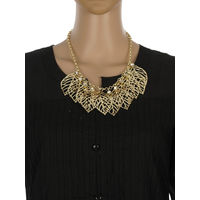 One Stop Fashion Stunning and Smart Gold Colour Leaves Alloy Neckpiece for Girls & Women, 49, gold