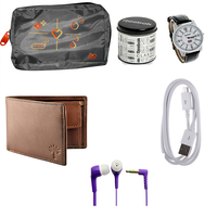 Buy Reebok Watch, Woodland purse, Ear phone, Data cable & Bag Just Rs. 299