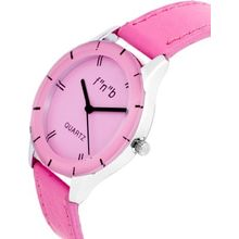 FNB Pink Dial Analouge Watch For women Fnb-0101, genuine leather, pink