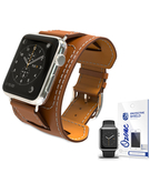 PU Leather Watch Band Strap with screen protector for 38mm Apple Watch Brown