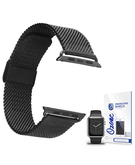 Stainless Steel Mesh Wrist Strap with screen protector for Apple Watch 42mm Black