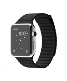 Apple Watch 42MM Stainless Steel Case with Black Leather Loop MJYN2, 42 MM,  Black