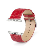 Crocodile Skin Leather Wristband Strap for Apple Watch 42mm - Red