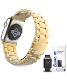 Stainless Steel Band Strap with screen protector for Apple Watch 38mm Gold