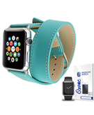 PU Leather Band Strap Double Tour with screen protector for Apple Watch 38mm Blue