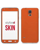 Stylizedd Premium Vinyl Skin Decal Body Wrap for Samsung Galaxy S5 - Fine Grain Leather Orange