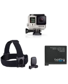 GoPro Hero4 Silver Standard Edition+ GoPro Head Strap+ 1 Extra Gopro Battery Bundle Kit