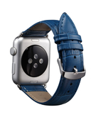 Crocodile Skin Leather Wristband Strap for Apple Watch 42mm - Midnight Blue