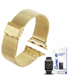 Stainless Steel Mesh Wrist Strap with screen protector for Apple Watch 38mm Gold