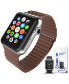 Magnetic Leather Strap with screen protector for Apple Watch 38mm Brown