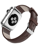 Crocodile Skin Leather Wristband Strap for Apple Watch 42mm - Brown