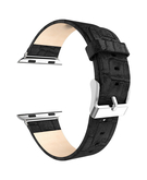 Crocodile Skin Leather Wristband Strap for Apple Watch 38mm - Black