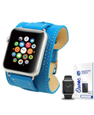 PU Leather Watch Band Strap with screen protector for 38mm Apple Watch Blue